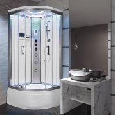 Vidalux Miami Quadrant Steam Shower Bath Cabin 900mm x 900mm - Crystal White