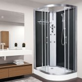 Vidalux Pure Offset Quadrant Shower Cabin 1200mm x 800mm Left Handed - Midnight Black