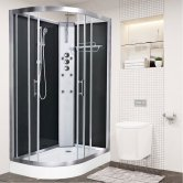 Vidalux Pure Offset Quadrant Shower Cabin 1200mm x 800mm Right Handed - Midnight Black
