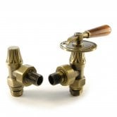 West Abbey Throttle Angled Manual Radiator Valve and Lockshield - Old English Brass
