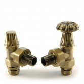 West Abbey Angled Manual Radiator Valves Pair and Lockshield - Old English Brass