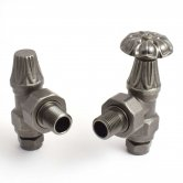 West Abbey Angled Manual Radiator Valves Pair and Lockshield - Pewter