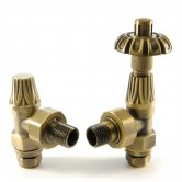 West Abbey Angled TRV Thermostatic Radiator Valves Pair and Lockshield - Old English Brass