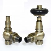 West Amberley Angled Thermostatic Radiator Valves Pair and Lockshield - Antique Brass