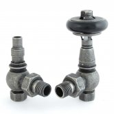 West Amberley Angled Thermostatic Radiator Valves Pair and Lockshield - Pewter