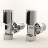 West Apex Angled Manual Radiator Valves Pair - Chrome