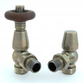 West Bentley Traditional Thermostatic Radiator Valves Pair and Lockshield Angled - Antique Brass