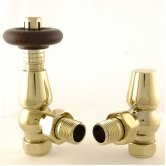 West Bentley Traditional TRV Thermostatic Radiator Valves Pair and Lockshield, Angled, Brass