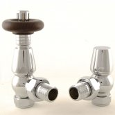 West Bentley Traditional TRV Thermostatic Radiator Valves Pair and Lockshield, Angled, Chrome