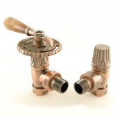 West Bentley Lever Traditional Radiator Valves Pair, Manual, Angled, Antique Copper