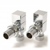 West Bloc Angled Square Radiator Valves Pair - Chrome