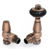 West Eton Traditional Angled Manual Radiator Valves Pair and Lockshield - Antique Copper