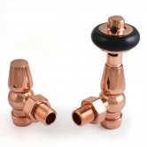 West Eton Traditional Angled Manual Radiator Valves Pair and Lockshield - Polished Copper