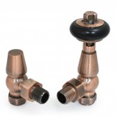 West Faringdon TRV Thermostatic Radiator Valves Pair and Lockshield, Angled, Antique Copper