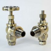 West Rosa Traditional Manual Radiator Valves Pair Angled - Antique Brass