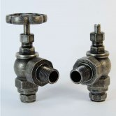 West Rosa Traditional Manual Radiator Valves Pair Angled - Pewter