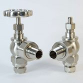 West Rosa Traditional Manual Radiator Valves Pair Angled - Satin Nickel