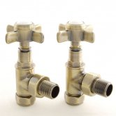 West Westminster Crosshead Angled Radiator Valves, Pair, Antique Brass