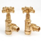 West Westminster Crosshead Angled Radiator Valves, Pair, Un-Lacquered Brass