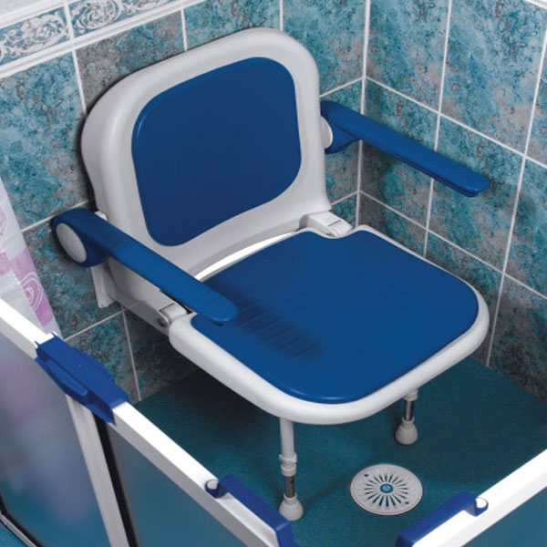 AKW 4000 Series Standard Fold Up Shower Seat Blue with Back & Arms Blue-1