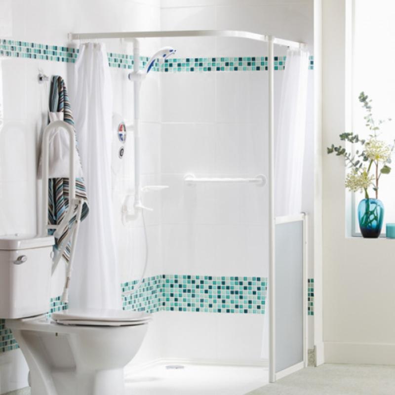 AKW White Shower Heavy Duty Curtain 1800mm Wide x 2000mm Drop