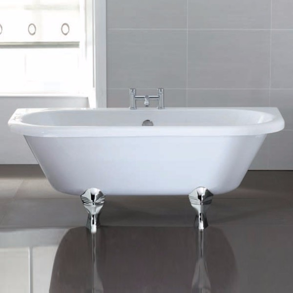 April Kildwick Traditional Back to Wall Bath 1700mm x 750mm - Acrylic-0