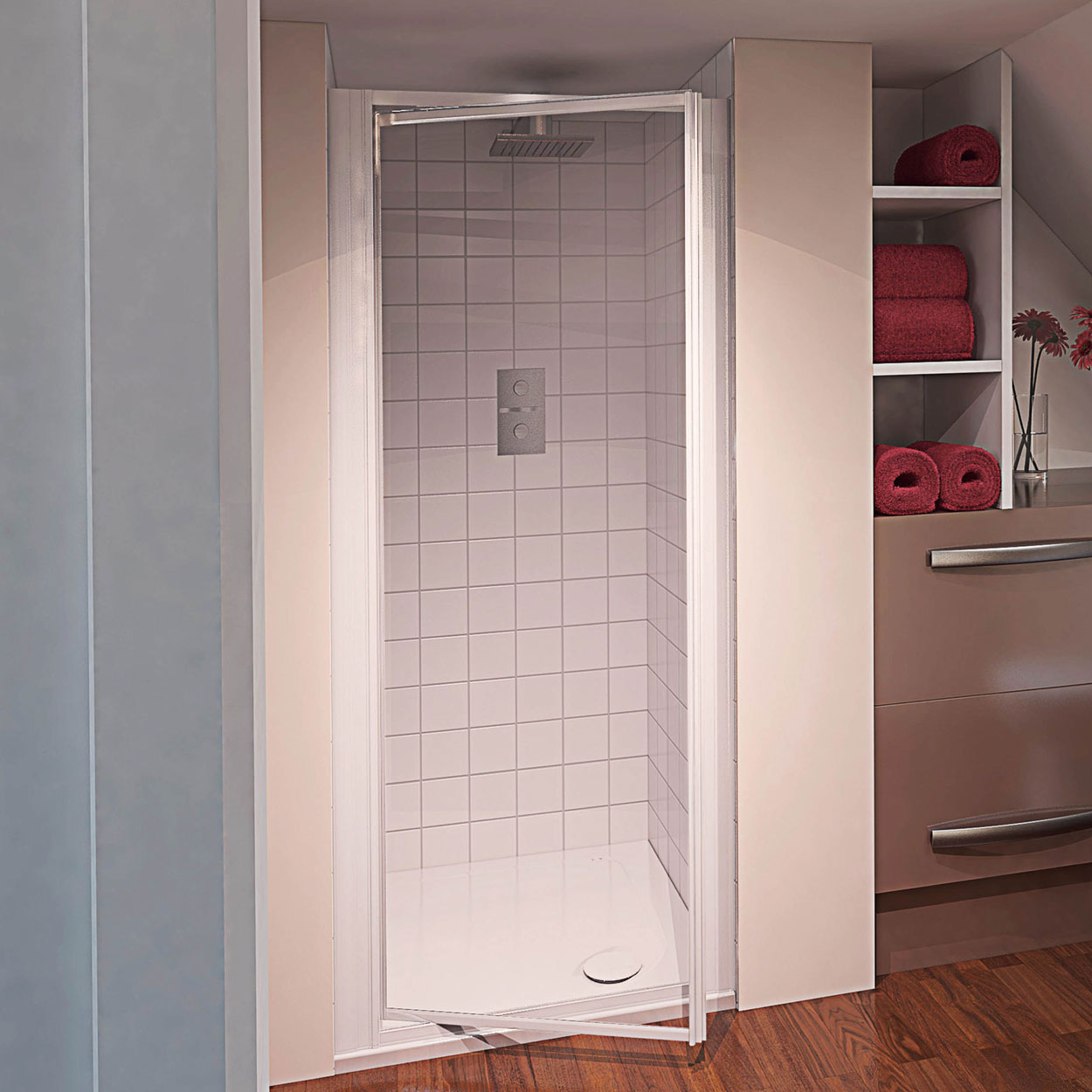 Aqualux AQUA 4 Pivot Shower Door 760mm Wide White Frame - Clear Glass