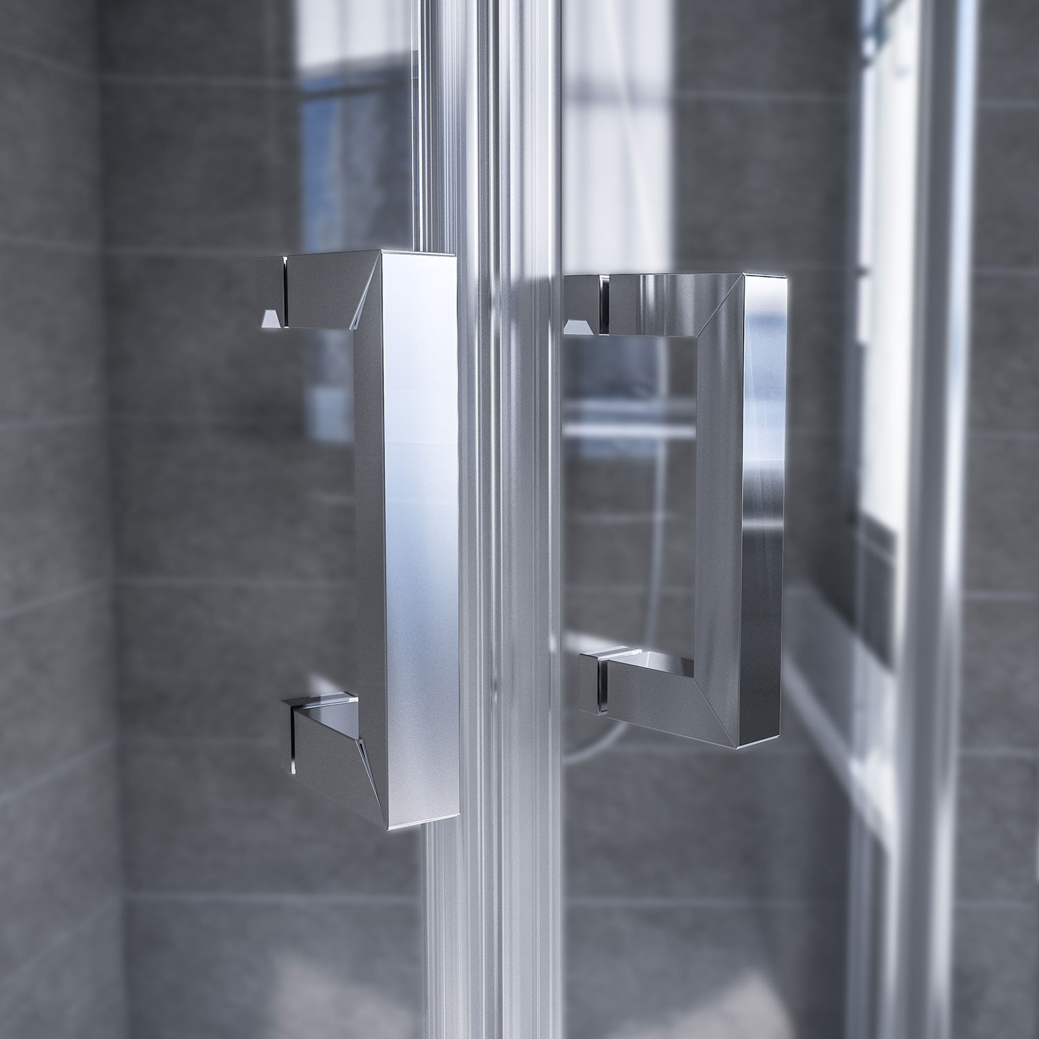 Aqualux AQX 6 Quadrant Shower Enclosure 800mm x 800mm Silver Frame 6mm Glass