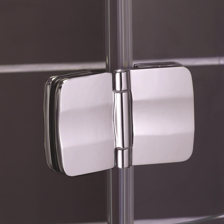 Aqualux Pura Hinge Shower Door with 2 Fixed Panel in Recess - 1200mm Wide