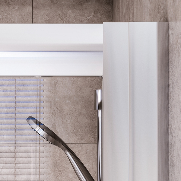 Aqualux Shine6 Sliding Shower Door 1400mm Wide Silver Frame 6mm Glass