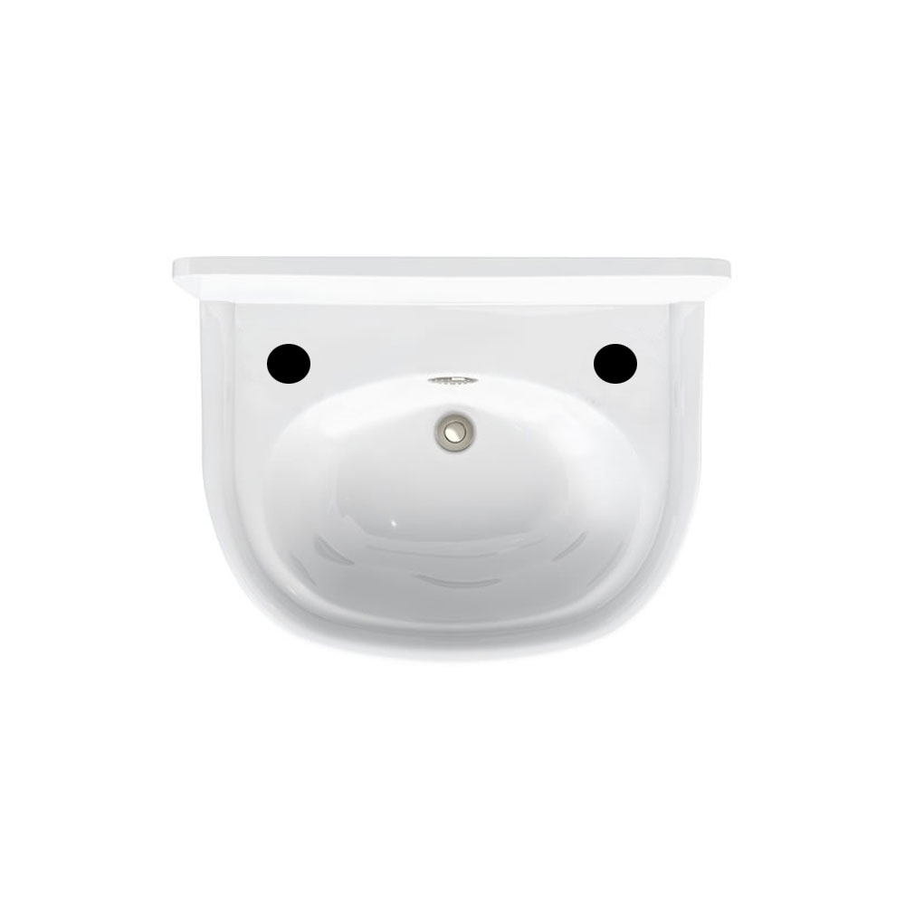 Arcade Cloakroom Basin 500mm Wide - 2 Tap Hole