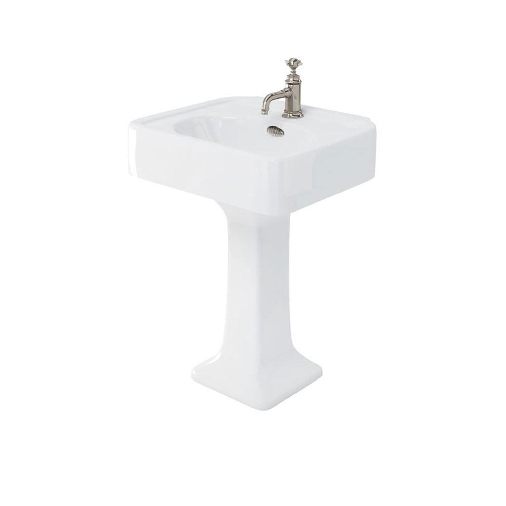 Arcade Basin 600mm Wide with Full Pedestal - 1 Tap Hole