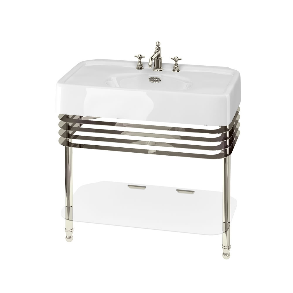 Arcade Basin 900mm Wide and Stand with Glass Shelf - 3 Tap Hole