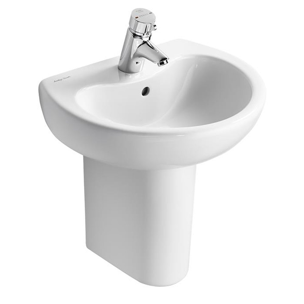 Armitage Shanks Contour 21 Basin with Semi Pedestal 500mm Wide - 1 Tap Hole