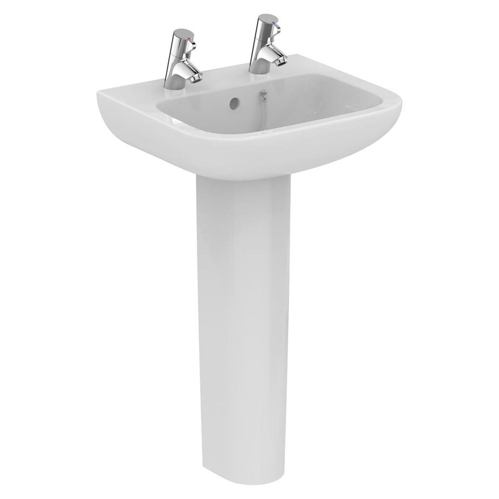 Armitage Shanks Portman 21 Basin with Full Pedestal 500mm Wide - 2 Tap hole