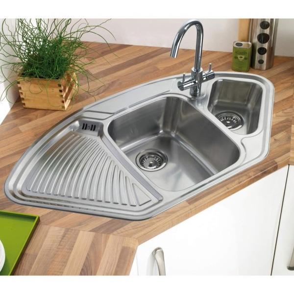 Astracast Lausanne 1.5 Bowl Stainless Steel Corner Kitchen Sink-0