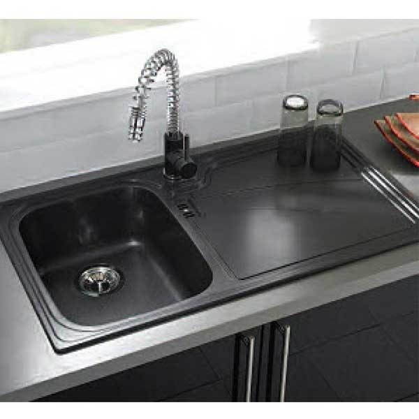 Astracast Professional Pull Out Spray Monobloc Kitchen Sink Mixer Tap - Volcano BlackChrome-0