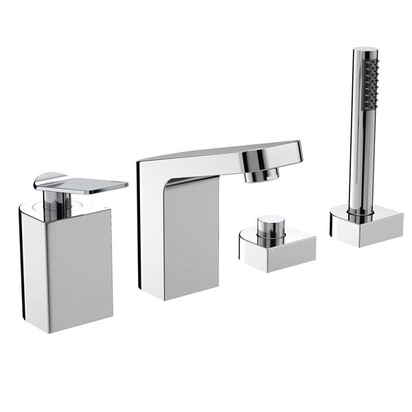 Bristan Alp 4-Hole Bath Shower Mixer Tap, Deck Mounted, Chrome