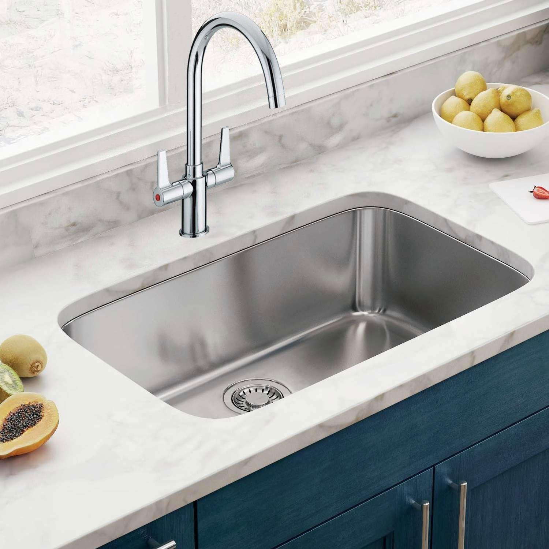 Bristan Design Utility Lever EasyFit Mono Kitchen Sink Mixer Tap Dual Handle - Chrome