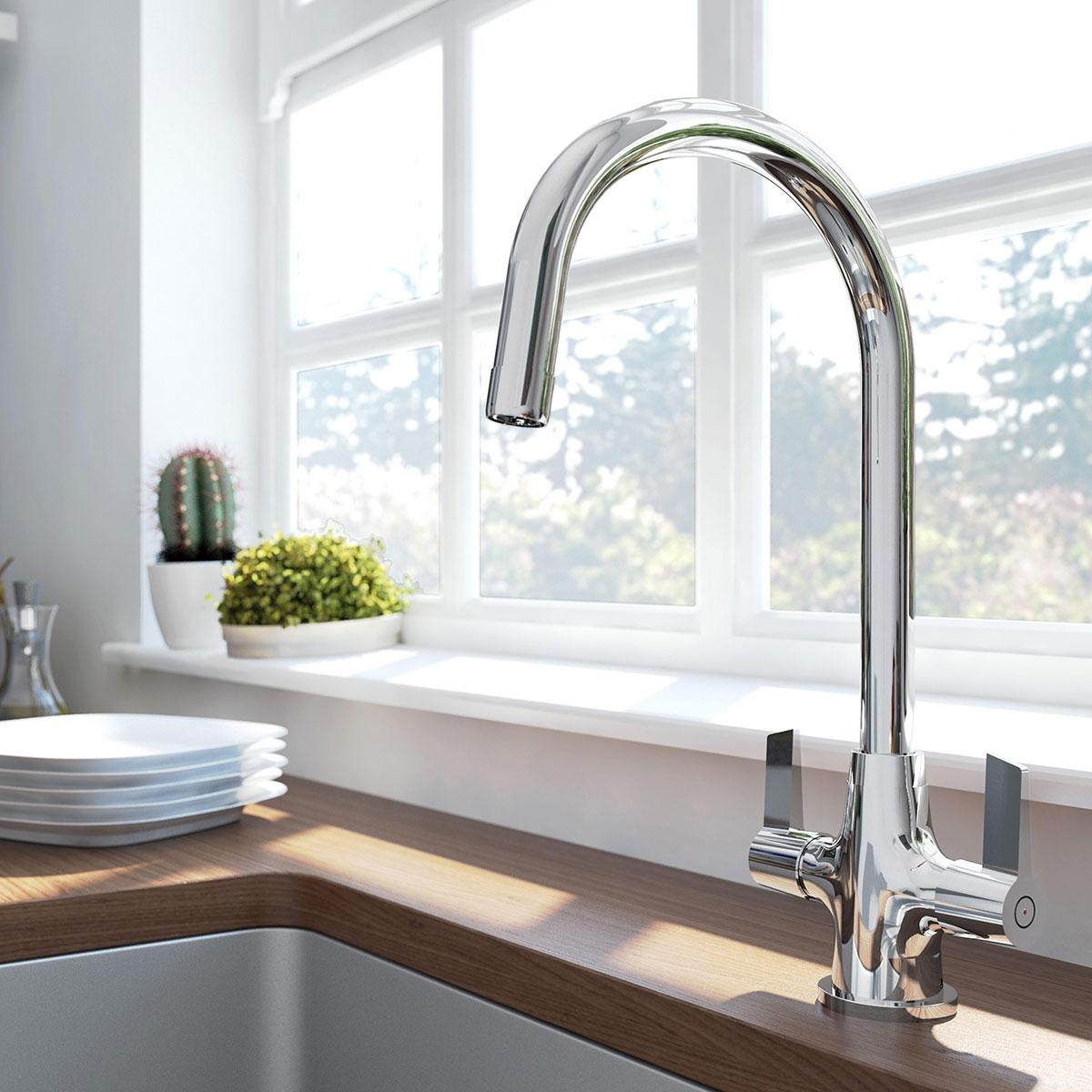 Bristan Echo EasyFit Mono Kitchen Sink Mixer Tap Dual Handle - Chrome