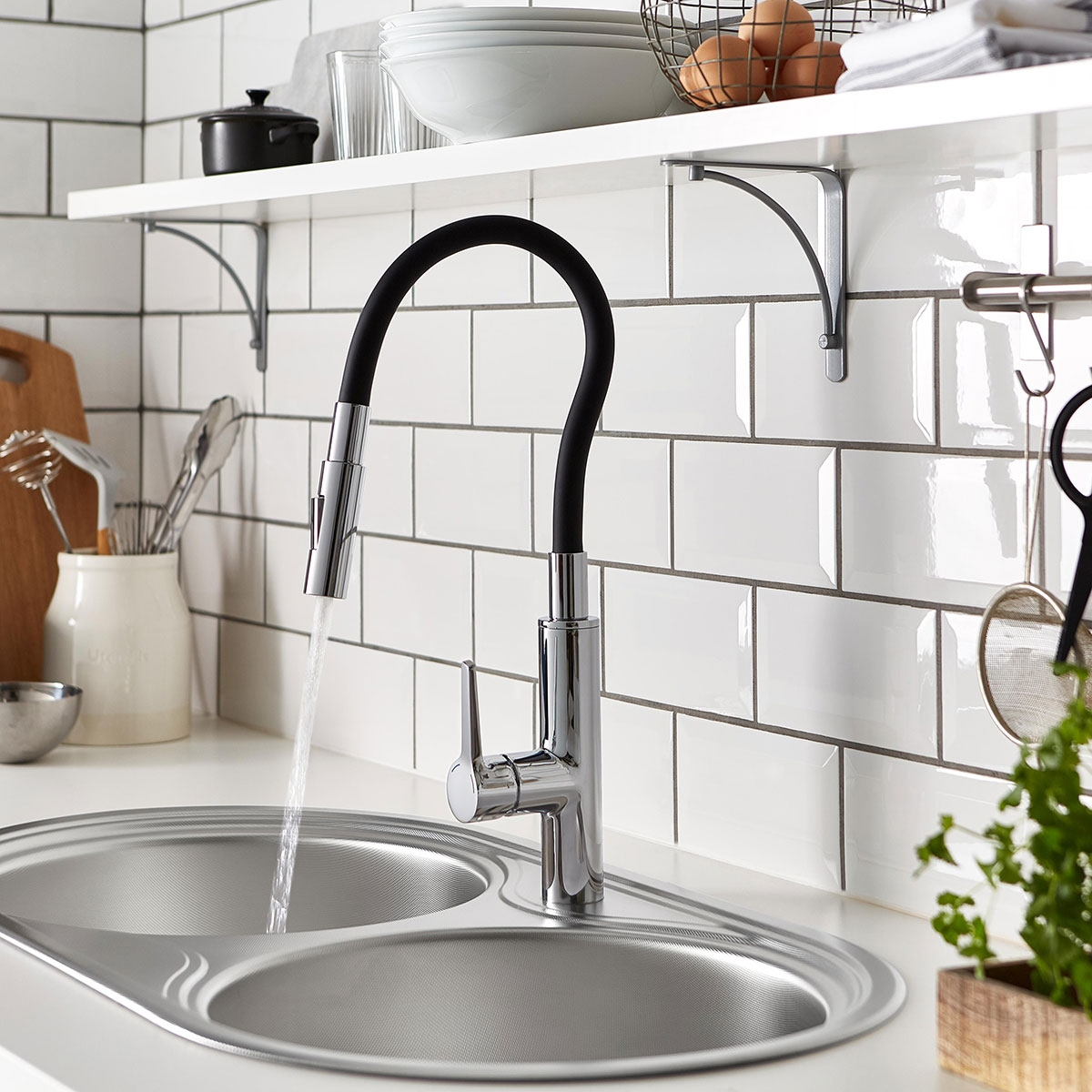 Bristan Gallery Flex Kitchen Sink Mixer Tap Single Handle - Black/Chrome