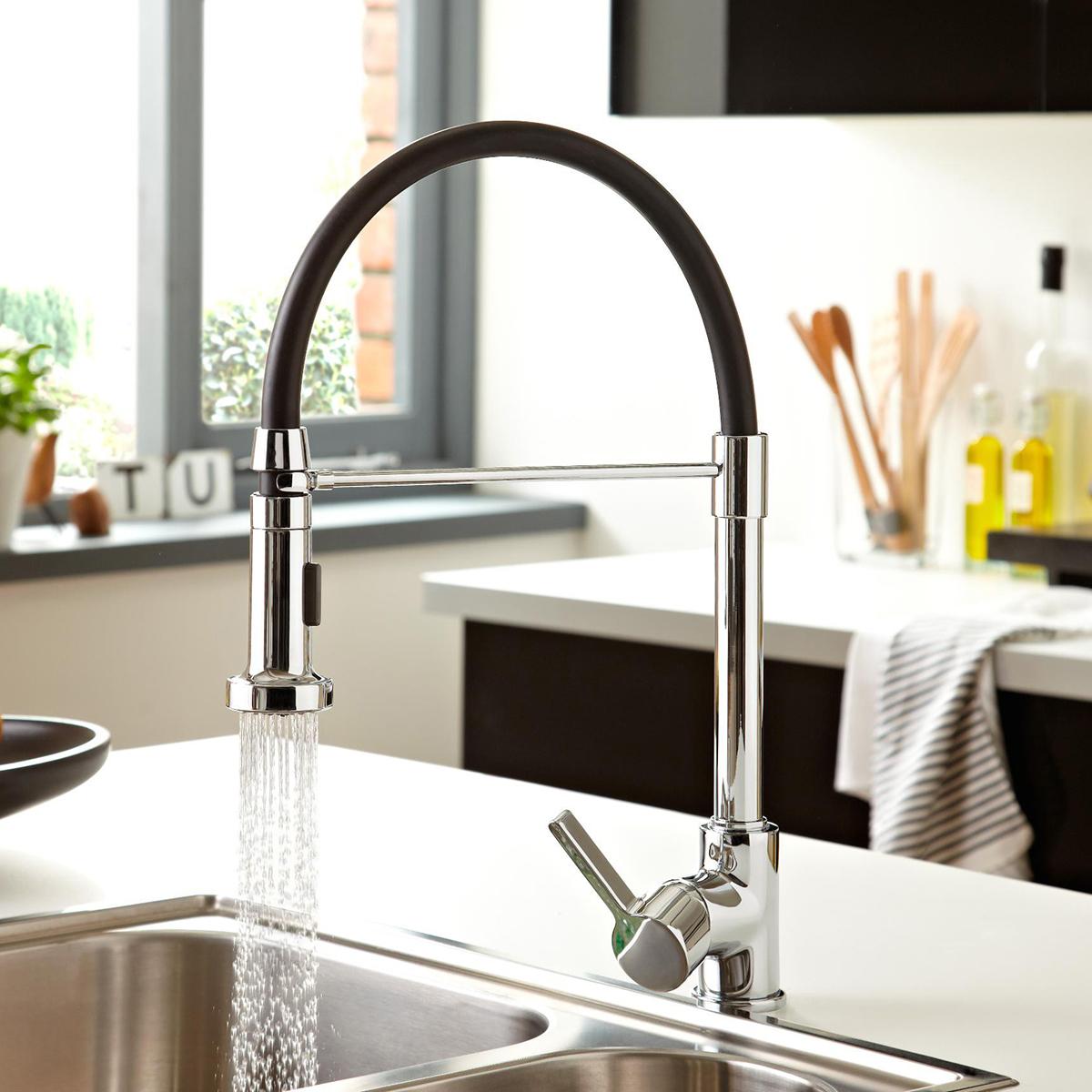 Bristan Liquorice Mono Kitchen Sink Mixer Tap, Pull-Down Spray, Chrome-0