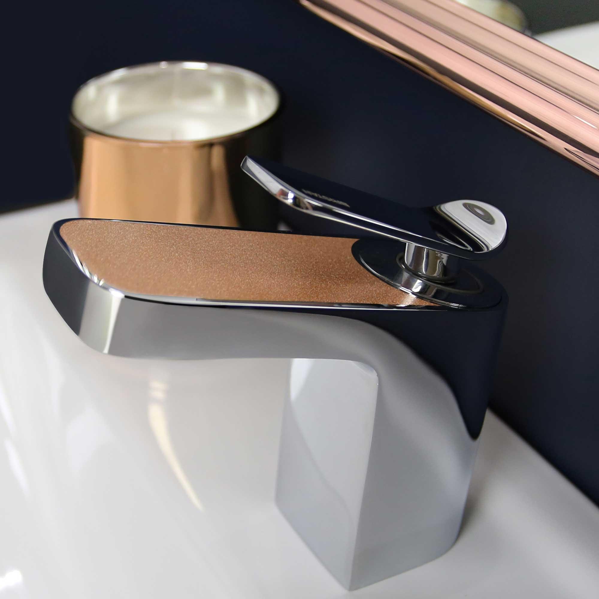 Bristan Metallix Alp Basin Mixer Tap with Clicker Waste - Copper Radiance