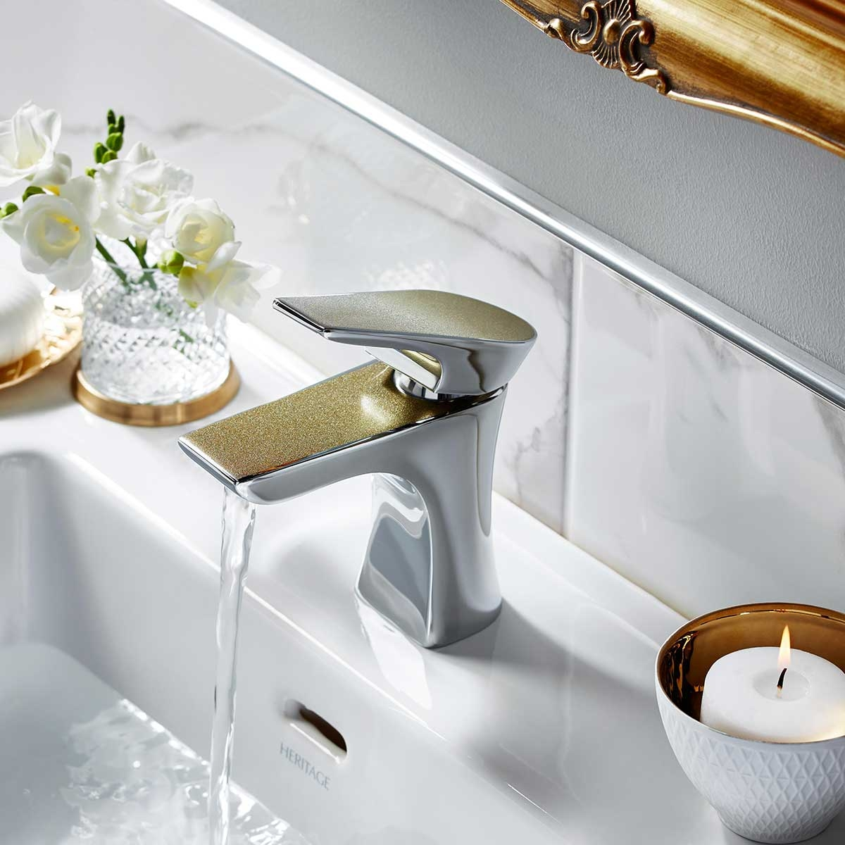 Bristan Metallix Hourglass Mixer Tap with Clicker Waste- Champagne Shimmer