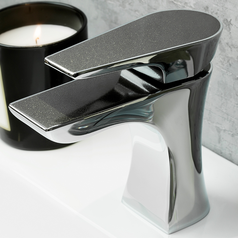 Bristan Metallix Hourglass Mixer Tap with Clicker Waste- Graphite Glisten