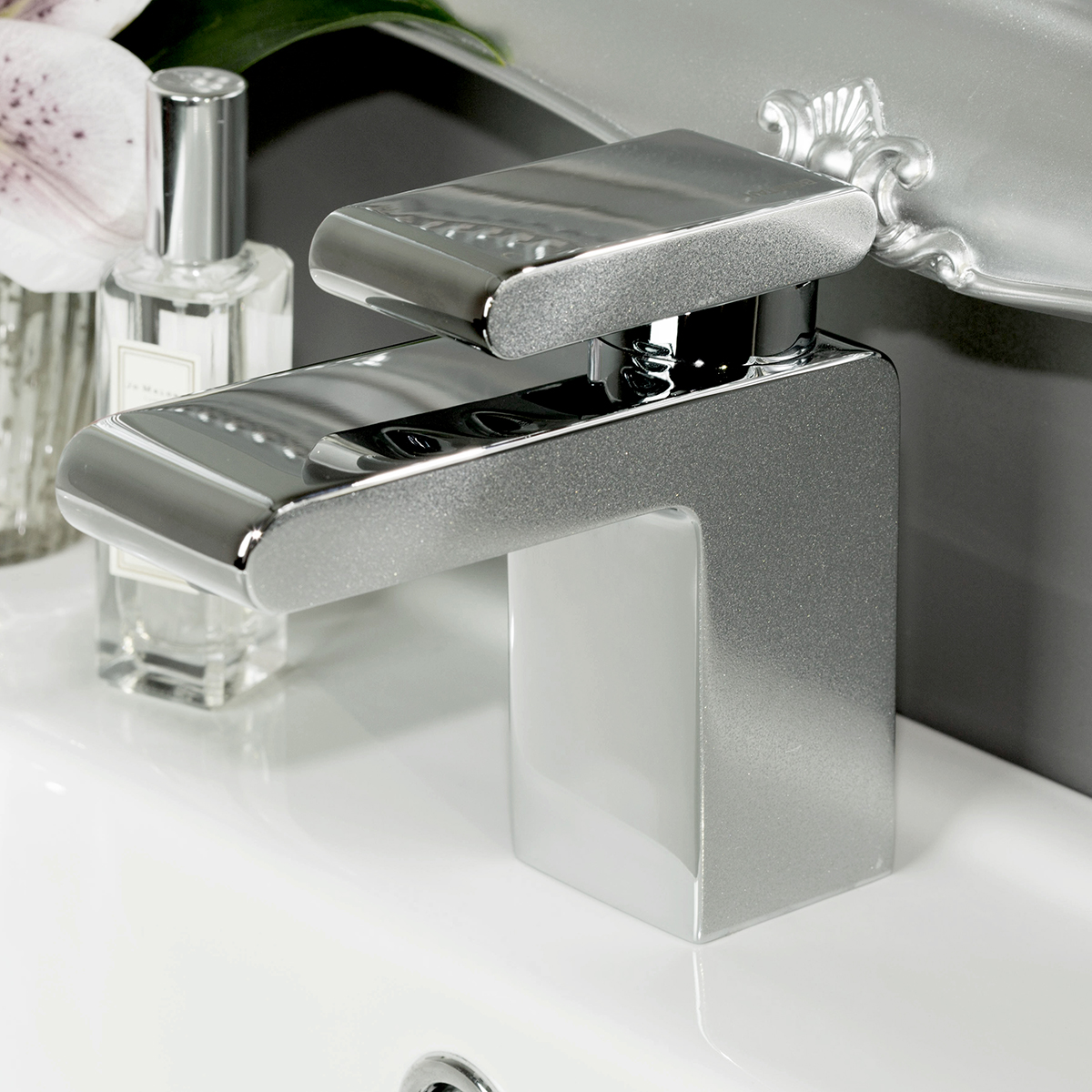 Bristan Metallix Pivot Basin Mixer Tap with Clicker Waste - Silver Sparkle