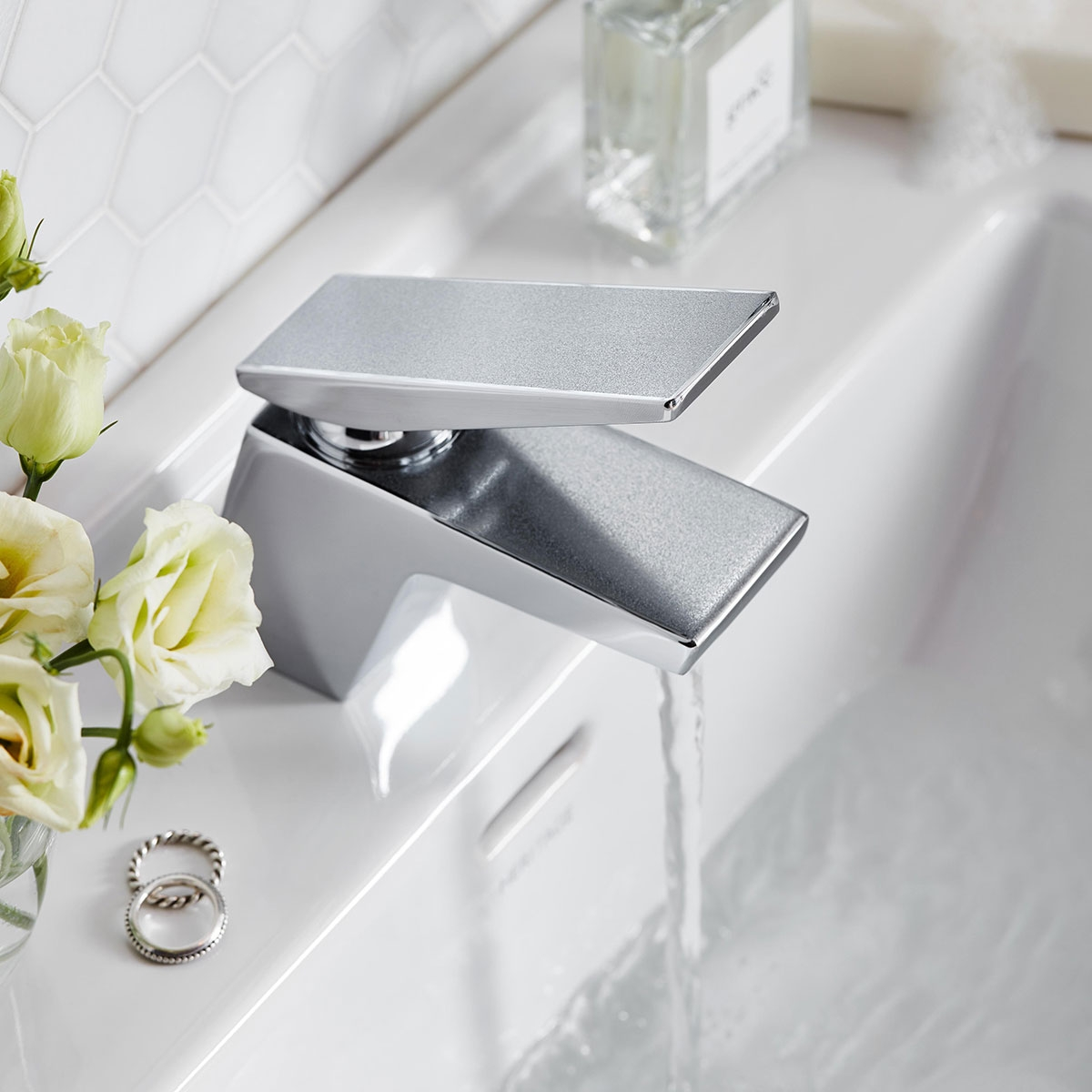Bristan Metallix Sail Basin Mixer Tap With Clicker Waste- Silver Sparkle-0