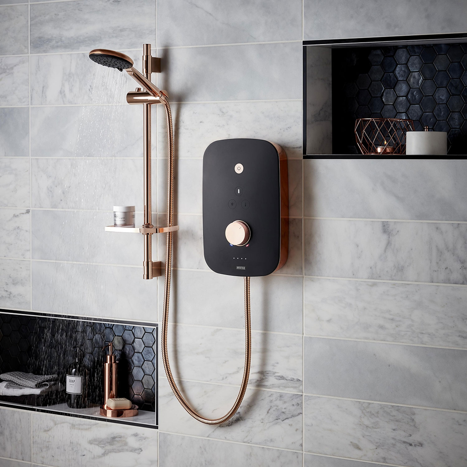 Bristan Noctis 10.5kw Electric Shower - Black and Rose Gold