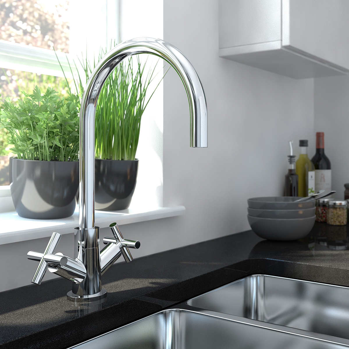 Bristan Tangerine Mono Kitchen Sink Mixer Tap Dual Handle - Chrome