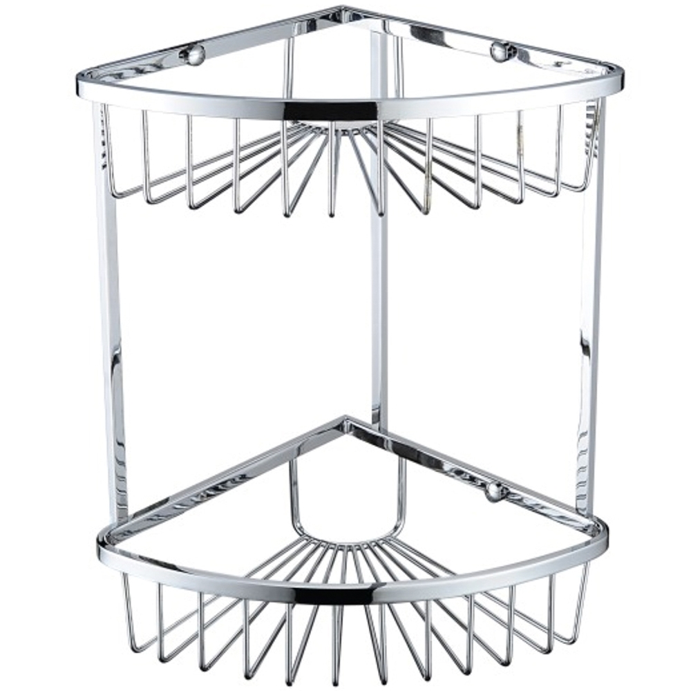 Bristan Two Tier Corner Fixed Wire Basket, Chrome